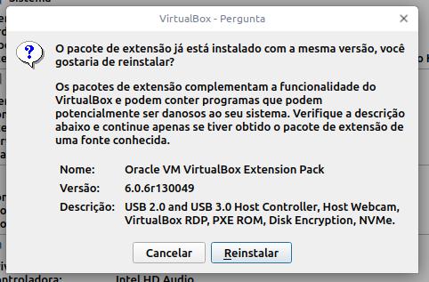 Reinstalação do pacote de extensão do VirtualBox